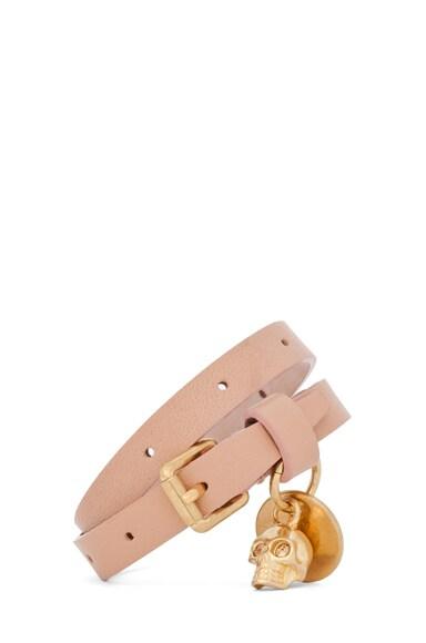 Skull Charm Double Wrap Leather Bracelet