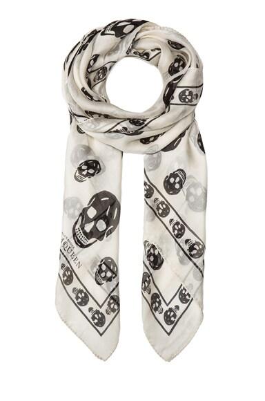 Printed Silk Chiffon Skull Scarf