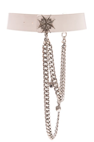 Alexander McQueen Leather Waist Belt in Silk White