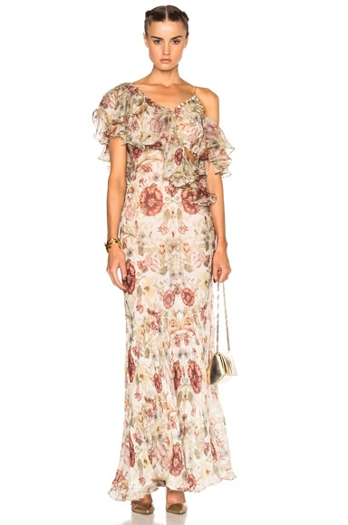 Alexander McQueen Off Shoulder Gown in Multi