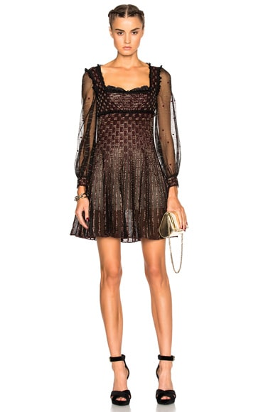 Alexander McQueen Mini Empire Dress in Black, Russet & Gold