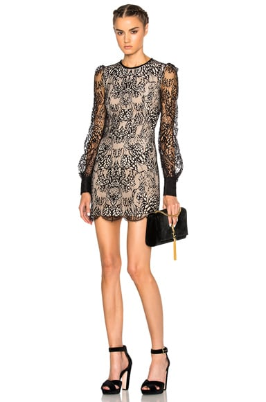 Alexander McQueen Butterfly Lace Mini Dress on Black & Flesh