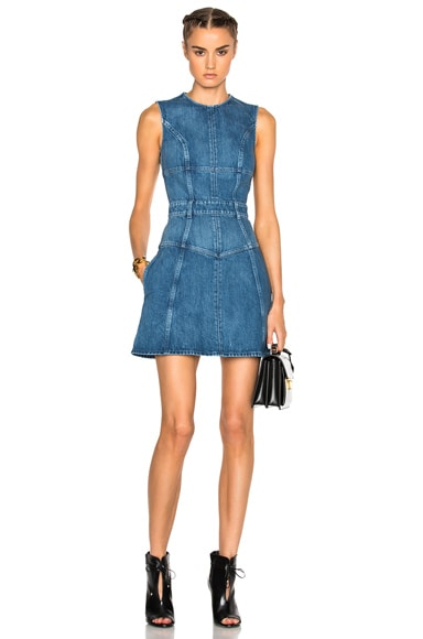 Alexander McQueen Denim Mini Dress in Dark Indigo