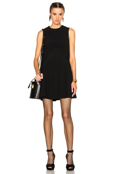 Alexander McQueen Cape Back Mini Dress in Black