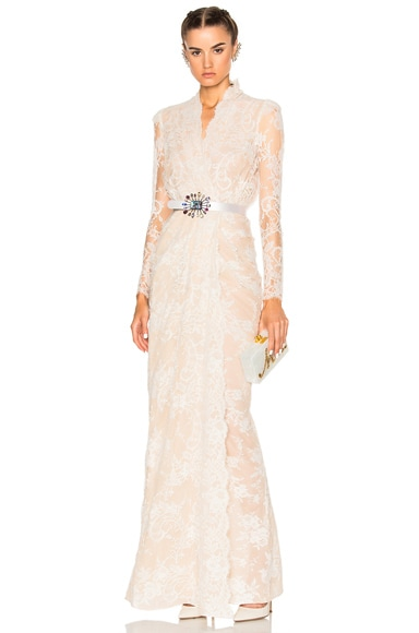 Alexander McQueen Sara Lace Wrap Dress in Flesh & Ivory