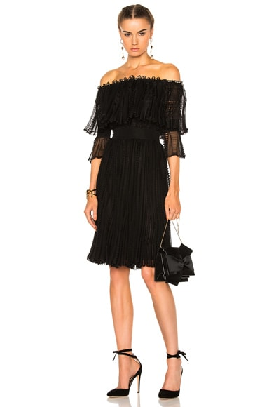 Alexander McQueen Off The Shoulder Puff Sleeve Dress in Black & Cameo