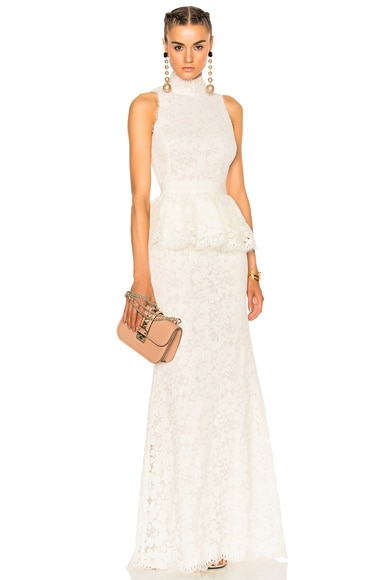 Alexander McQueen Lace Peplum Gown in Ivory