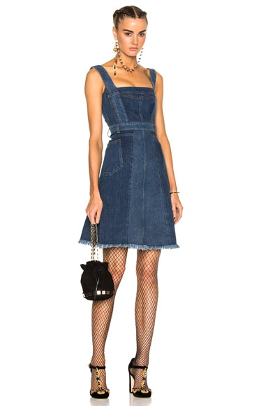 Alexander McQueen Patchwork Denim Sleeveless Dress in Mid Blue