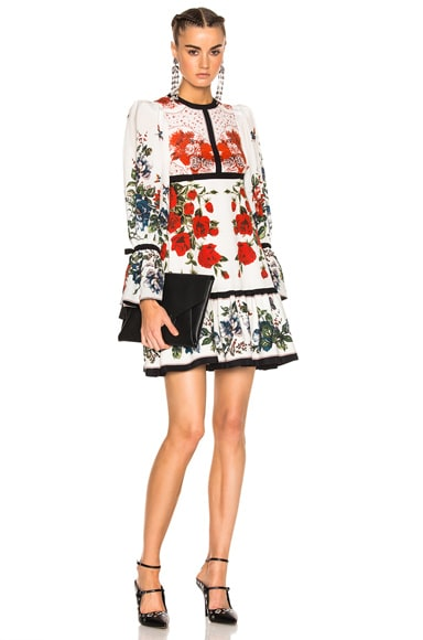 Alexander McQueen Printed Dress in Ivory