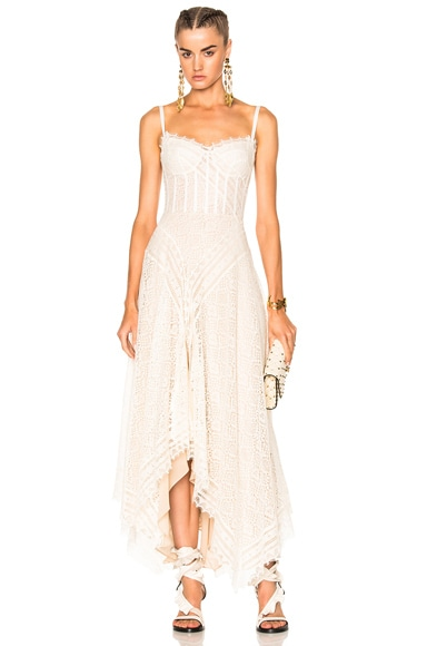 Alexander McQueen Asymmetrical Lace Dress in Ivory