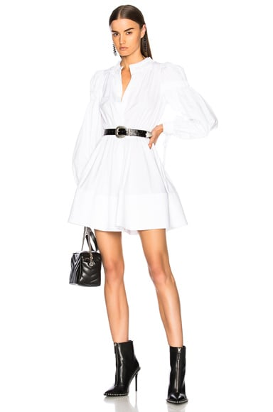 Popeline Gathered Sleeve Dress