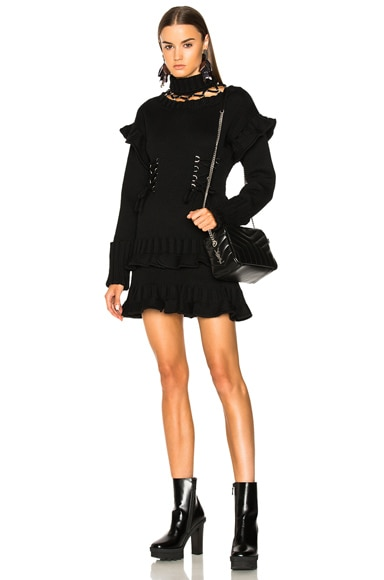Lace Up Chunky Knit Mini Dress