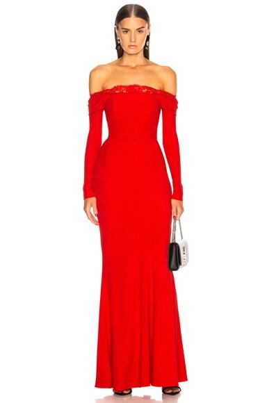 Lace Trim Off Shoulder Gown