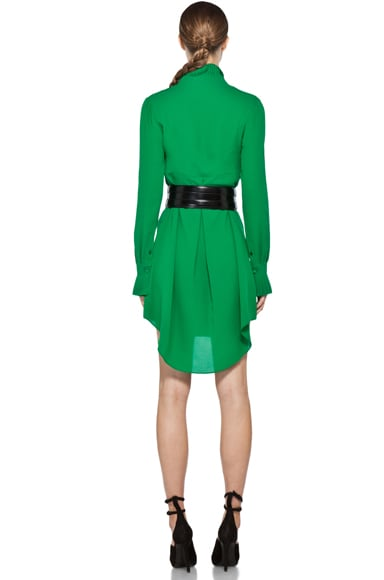 Georgette Cuffed Dress with Pleated Neck