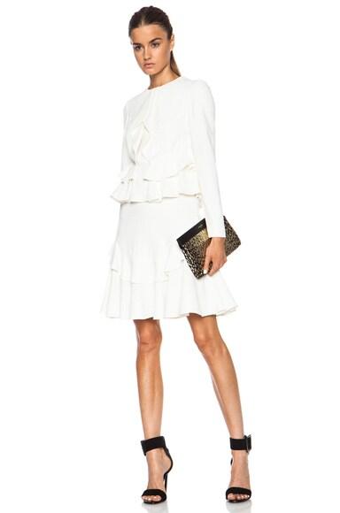 Alexander McQueen Ruffle Mini Acetate-Blend Dress in Vanilla