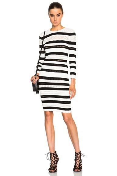 Alexander McQueen Stripe Mini Pencil Dress in Black & Ivory