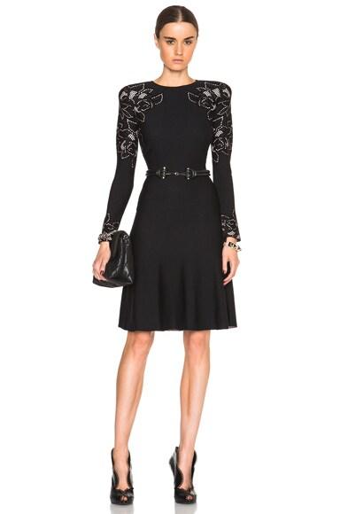 Alexander McQueen Long Sleeve Crew Neck Dress in Black & Teint