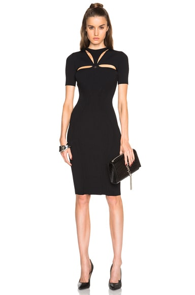 Alexander McQueen Cut Out Neck Pencil Dress in Black