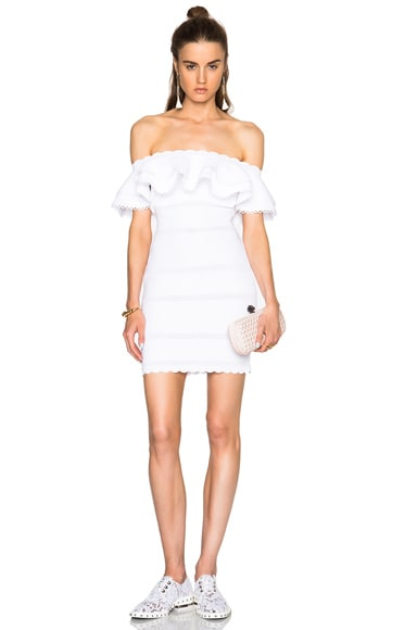 Alexander McQueen Off Shoulder Mini Dress in White