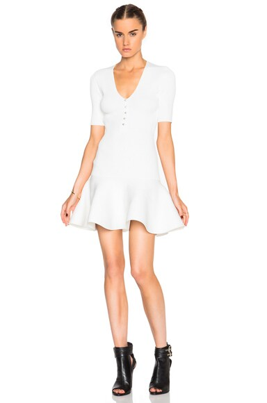 Alexander McQueen V Neck Mini Dress in Off White