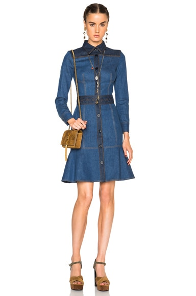 Alexander McQueen Fitted Denim Dress in Light & Dark Blue
