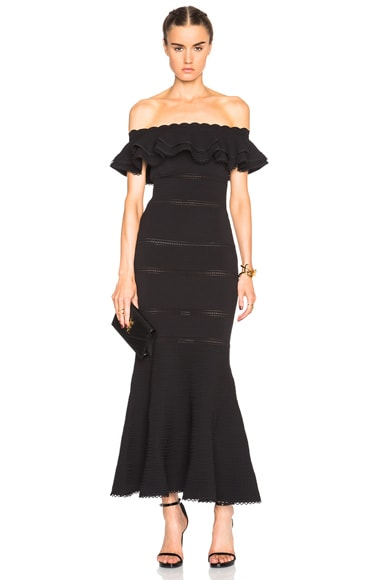 Alexander McQueen Off Shoulder Peplum Dress in Black