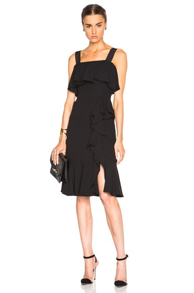 Alexander McQueen Off Shoulder Drape Dress in Black