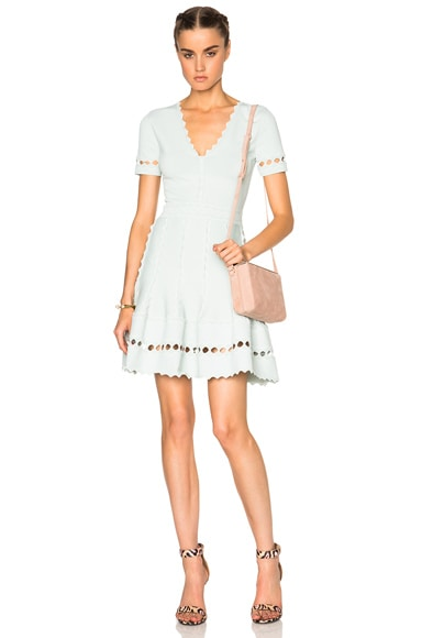 Alexander McQueen Flute Sleeve Mini Dress in Egg Blue & Off White