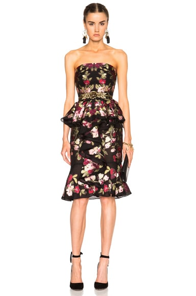 Alexander McQueen Strapless Dress in Black & Red