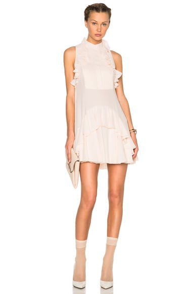 Alexander McQueen Ruffle Mini Dress in Powder