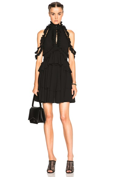 Alexander McQueen Open Shoulder Ruffle Dress in Black