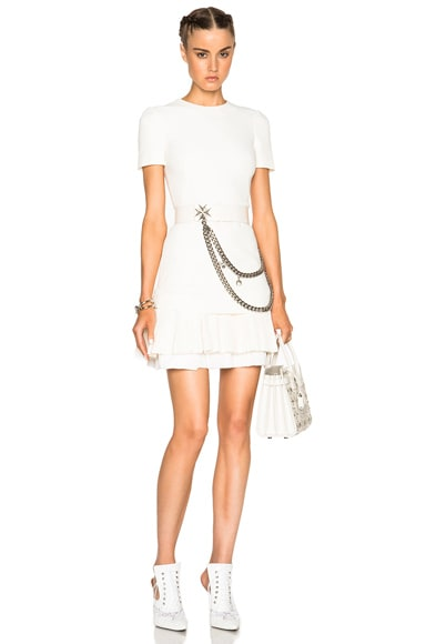 Alexander McQueen Pleated Silk Fail Dress in Bone
