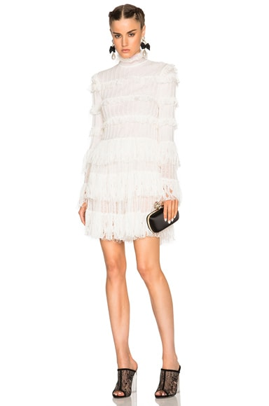Alexander McQueen A Line Ruffle Mini Dress in Ivory