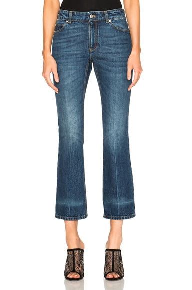 Alexander McQueen Crop Flare Denim in Dark Vintage Wash
