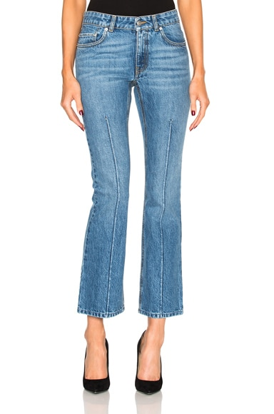 Alexander McQueen Crop Flare Jean in Light Indigo