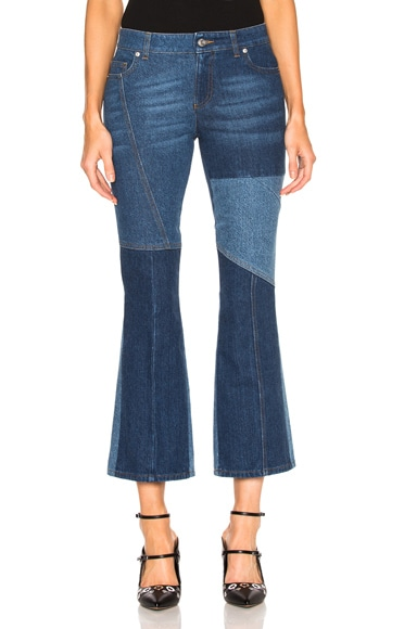 Alexander McQueen Patchwork Cropped Flare Jeans in Light Blue