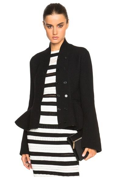 Alexander McQueen Knit Peplum Jacket in Black