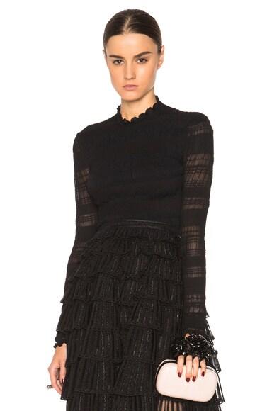 Alexander McQueen Crew Neck Long Sleeve Sweater in Black