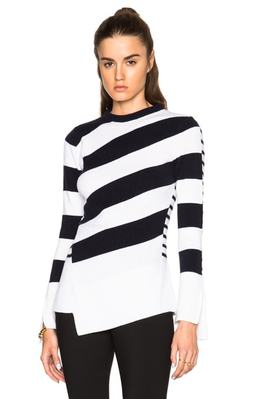 Alexander McQueen Crew Neck Jumper in Ivory & Navy