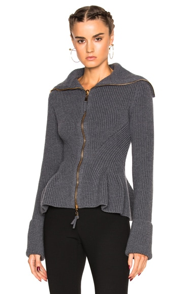 Alexander McQueen Knit Peplum Sweater in Dark Grey