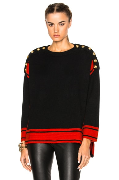 Alexander McQueen Oversized Sweater in Black & Red