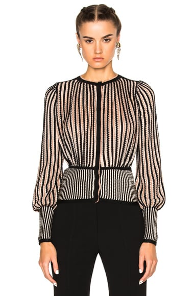 Alexander McQueen Cardigan Sweater in Black, Blush & Cream