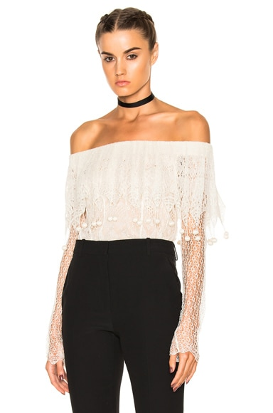 Alexander McQueen Off the Shoulder Lace Sweater in Ivory & Flesh
