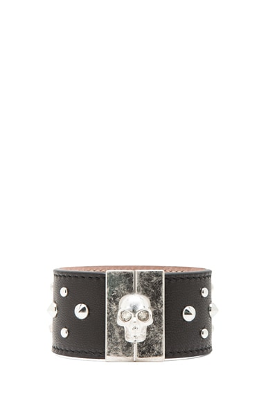 Studded Skull Leather Cuff