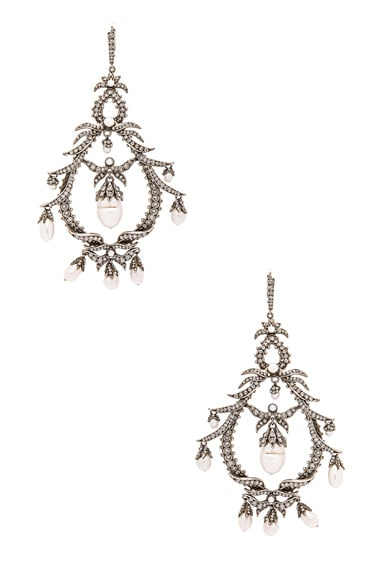 Alexander McQueen Giant Earrings in Crystal & Pearl