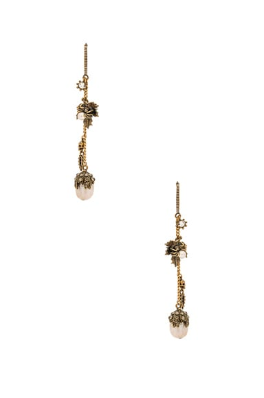 Alexander McQueen Leaf Charm Earrings in Gold