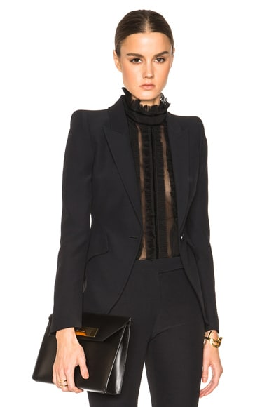 Alexander McQueen Peak Shoulder One Button Jacket in Black