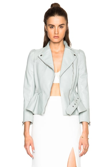 Alexander McQueen Leather Jacket in Egg Blue