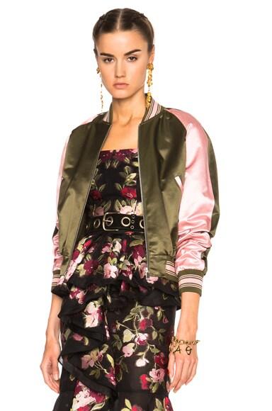 Alexander McQueen Embroidered Bomber Jacket in Khaki & Foxglove
