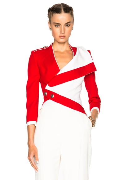 Alexander McQueen Cropped Jacket in Cavalry Red & Ivory
